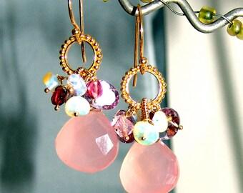 18K Vermeil Sterling Silver Pink Chalcedony Tourmaline Briolette Opal Earrings