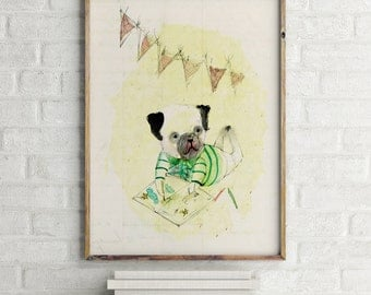 Eduardo IV, Nursery wall art boy, nursery animal print, nursery decor boy, kids room decor, nursery wall decor, dog wall art, dog wall decor