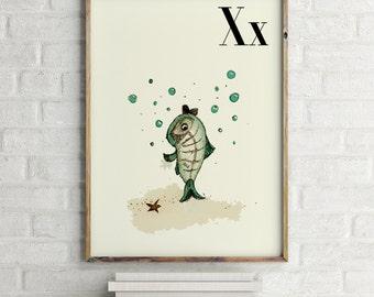 X Ray Fish print, nursery animal print, alphabet cards animals, alphabet letters, abc letters, alphabet print, animals prints for nursery