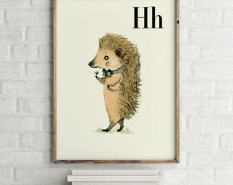 H for Hedgehog - Alphabet art - Alphabet print - ABC wall art - ABC print - Nursery art - Nursery decor -Kids room decor -Children's art