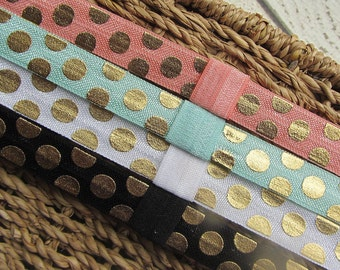 Gold Polka Dot Elastic Headbands with Interchangeable Loop Clip with Optional Gold Glitter Bow Clip