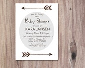 Arrow Baby Shower Invitation, Gray Baby, Modern Baby Shower, DIY Printable boy or girl