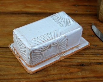 Covered Butter Dish in Shale with Sun Texture - Made to Order