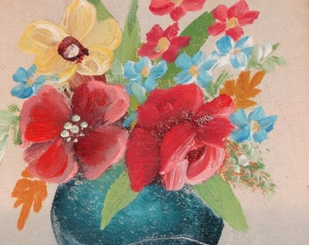 Miniature Oil Painting, signed Linnell, Eric Linnell still life painting Art Associates New York City, Sweet bouquet of flowers, framed oil