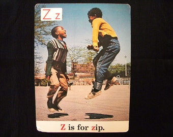 Rare Vintage 13 x 18 Classroom Poster Z is for Zip Black Americana ABC s 1970