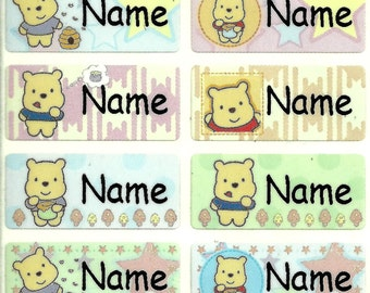 Baby Pooh Q M waterproof washable personalized name label sticker tag baby children kid toddler school daycare camp nursing office paper bib