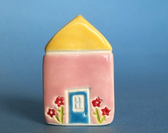 Little flower House Collectible Ceramic Miniature Clay House pink yellow