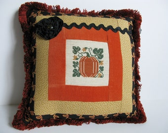 Pumpkin Jack O'Lantern Pillow Vintage Primitive Orange Velvet Ticking Cross Stitch Millinery Florals Harvest Autumn Halloween Decoration