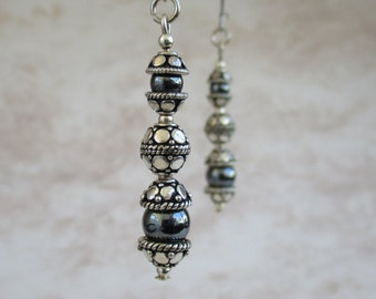 hematite and sterling silver earrings, sterling silver earrings, hematite earrings