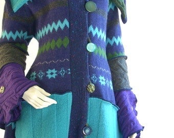 Medium 10-12/ Upcycled Sweater Coat/ Zig Zag/ Purple, Turquoise, Olive/Fully Lined