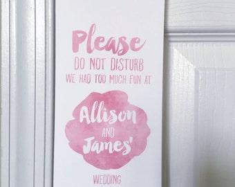 Wedding Do Not Disturb Signs, Unique Wedding Favors, Watercolor Wedding, Wedding Door Hangers, Wedding Welcome Bags, Destination Wedding