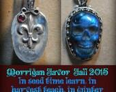 Favor Of the Morrigan labradorite skull  Fleur de lis and Red garnet 20 inch sterling silver chain