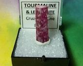 TOURMALINE And LEPIDOLITE Rubellite Pink Tourmaline Purple Lepidolite Double Terminated Crystal In Specimen Box From Cruzeiro Mine NEW