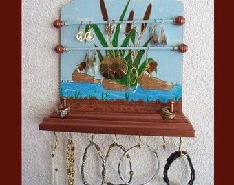 Duck Pond Wall Jewelry Holder, Jewelry Organizer, Wall Jewelry Hanger, Wood Jewelry Rack, Jewelry Display, Jewelry Storage,