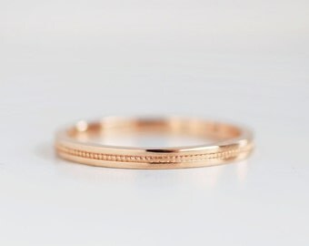 Flat Milgrain 2mm Rose Gold Wedding Band | Eco friendly Recycled Gold  | Flat Edge Women's 14k 18k Rose Gold Ring 2mm x 1.5mm thick