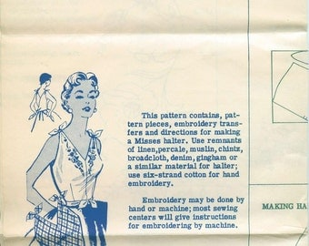 Alice Brooks Design 7064 Mail Order Tie Halter Top Sewing Pattern Embroidery Too Unused 1954