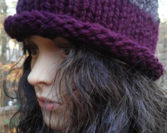 Beanie Charcoal Grey and Eggplant Hand Knit Wool Blend READY to SHIP