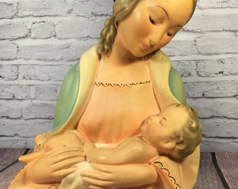 Madonna and Child Robia Ware Bust ~ Roman Art Co. Inc. No. 240 ~ St. Louis, Mo. ~ 1940s