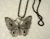 Butterfly Pendant with a Ball Chain Necklace