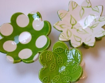 Lime Green Leaves & polka-dot pottery Dish Set :) 3 ceramic serving flowers, whimsical hostess gift, candleholders, ring dish