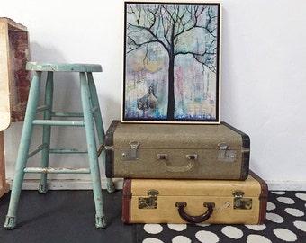 Framed Wall Art, Tree of Life Original Artwork, Cute Office Decor, Mixed Media Collage Art Painting, , 16X20 Frame