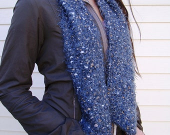 Hand Knit Grey Scarf Soft Cozy Long Gray Scarf Wrap Yourself Up in Warmth Can be converted to Infinity Grey Handknit Scarf Unisex