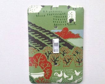 Switch Plate Cover, Switch Plate, Decorative Switch Plate, Home Decor, Single Toggle, Rural Farm Scene, Vintage Wallpaper