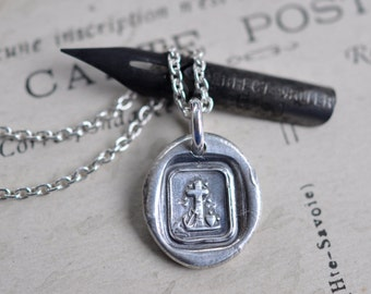 cross, heart, anchor wax seal necklace ... faith, hope and love - eco friendly silver religious wax seal jewelry