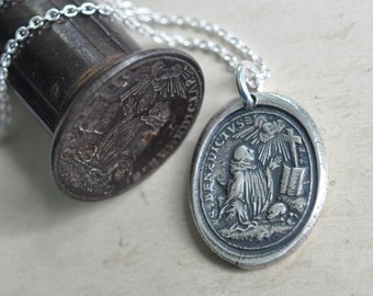 Saint Benedictuswax seal necklace - Saint Benedict medal … patron saint of Europe - silver religious wax seal jewelry