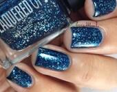 Midnight Sky// Dark Blue Silver Flake Nail Polish// Vegan// Cruelty Free