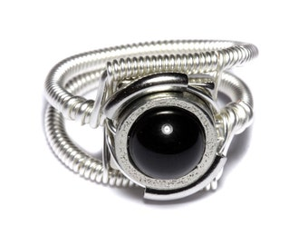Steampunk Jewelry - Ring - Black Onyx - Silver tone
