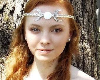 Crescent Moon Triple Goddess Circlet Headband Tiara