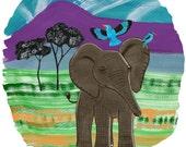 Elephant illustration, elephant art. elephant print, children's art, nursery art