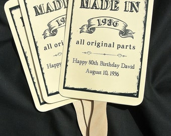 Adult Birthday Favor | 80th Birthday Favors - Birthday Party Favor - Birthday Party Fans - Adult Birthday - Milestone Birthday