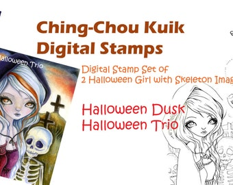 Digital Stamp Set of 2 Halloween Skeleton Images - Instant Download / Kitten Kitty Cat Candle Fantasy Gothic Fairy Art by Ching-Chou Kuik