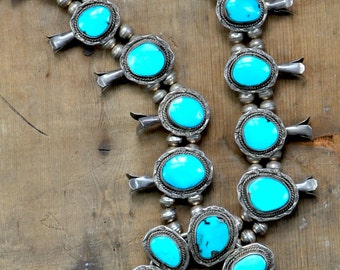 Sleeping Beauty Turquoise Squash Blossom Necklace Navajo Native American Vintage