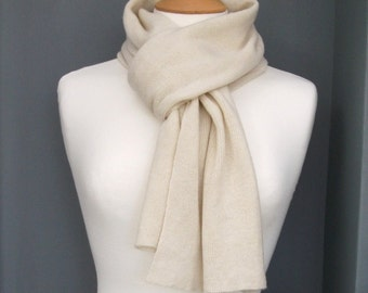 Knitted Cashmere Scarf - Snow, white - Soft, Winter, Cosy