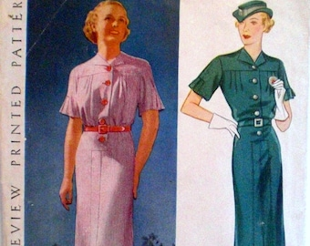 Vintage 1930s Dress Pattern Pictorial Review 8252 Bust 34