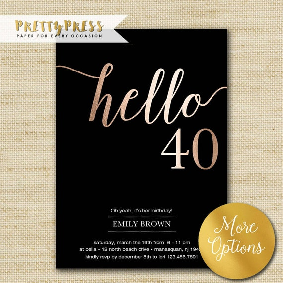 40th Birthday Invitation Modern Rose Gold Foil Hello 40
