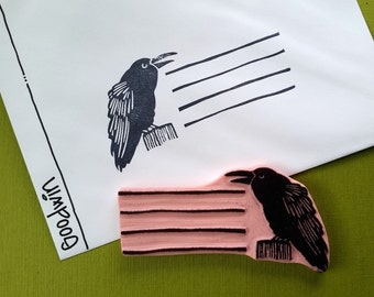 Raven Address Line - Hand Carved Rubber Stamp