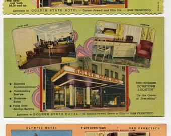 Advertisng Postcards - Three Linen San Francisco Hotels - Multi Views - 1940's