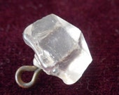 ANTIQUE Faceted Square Clear Glass Swirl Back BUTTON