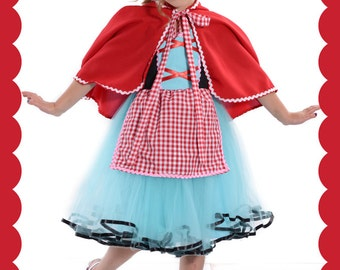 Red Riding Hood costume, girls Red Riding  dress, red riding hood CAPE,  Halloween costume