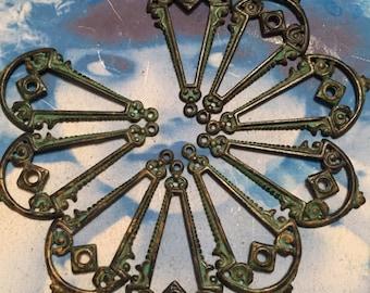 Verdigris Patina Brass Ornamental Dangles 575VER x2