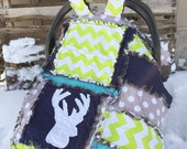 Stag Baby Car Seat Canopy Quilt With Deer Silhouette in Turquoise, Green, Gray, and Navy Blue, Baby Boy Woodland Nursery