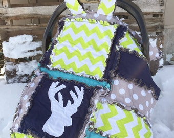 Baby Car Seat Canopy - Turquoise / Lime / Navy / Gray Deer Car Seat Cover & View Car Seat Canopy by AVisionToRemember on Etsy