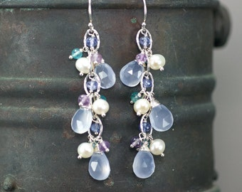Turkish Chalcedony, Tanzanite, Amethyst, Apatite, fresh water Pearl chain dangle gemstone earrings, 925 Silver hooks ... LAMIS Earrings