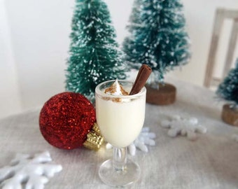 Miniature EGGNOG with Nutmeg & Cinnamon Stick Swizzle  -  ONE Goblet - 1:6 Scale Polymer Clay Minis for Fashion Dolls and Figures