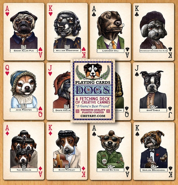 Dogs: A Fetching Deck of Canine Creatives- Plastic Coated Poker Deck- Dogs as Authors, Artists, Musicians and Film Stars