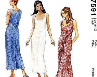 McCall's 7591 Easy Wrap Front Back Dress Sleeveless Size 8 10 Uncut Vintage Sewing Pattern 1995